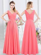 High Quality Watermelon Red Neckline Ruching Vestidos de Damas Sleeveless Zipper