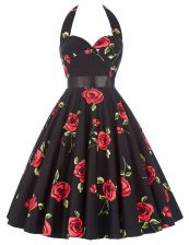 Fitting Halter Top Red And Black Zipper Prom Dresses Sashes ribbons and Pattern Sleeveless Knee Length