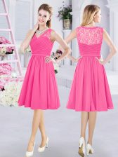 Chiffon V-neck Sleeveless Side Zipper Lace and Ruching Court Dresses for Sweet 16 in Hot Pink
