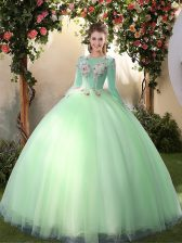 Scoop Long Sleeves Lace Up Floor Length Appliques Quinceanera Gown