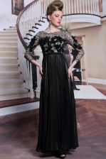 Appliques and Sequins Prom Party Dress Black Clasp Handle 3 4 Length Sleeve Asymmetrical