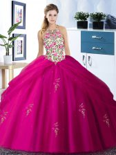 Custom Made Halter Top Floor Length Fuchsia Quinceanera Gown Tulle Sleeveless Embroidery and Pick Ups