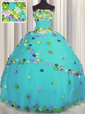Sleeveless Floor Length Hand Made Flower Lace Up Sweet 16 Dress with Aqua Blue
