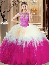 Shining Sleeveless Tulle Floor Length Backless Vestidos de Quinceanera in Multi-color with Beading and Ruffles
