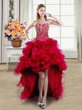 On Sale Red Sleeveless Organza Lace Up Dress for Prom for Prom and Party