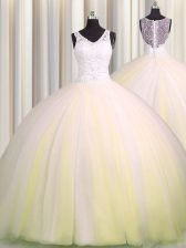 Artistic Zipple Up Light Yellow V-neck Zipper Beading and Appliques Quince Ball Gowns Brush Train Sleeveless