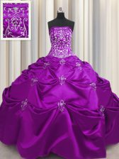 Taffeta Strapless Sleeveless Lace Up Beading and Appliques and Embroidery 15 Quinceanera Dress in Eggplant Purple