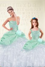 New Arrival Sleeveless Lace Up Floor Length Beading and Ruffles and Hand Made Flower Vestidos de Quinceanera