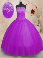 Romantic Purple Strapless Lace Up Beading Quinceanera Gown Sleeveless