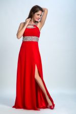 Beautiful Red and Coral Red Straps Neckline Beading Homecoming Dress Sleeveless Zipper