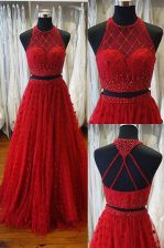 Attractive Sweep Train A-line Prom Party Dress Red Scoop Tulle Sleeveless Backless