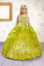 Luxurious Apple Green Ball Gowns Beading and Appliques and Pick Ups Kids Formal Wear Lace Up Satin Sleeveless Floor Length
