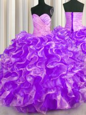 Customized Purple Vestidos de Quinceanera Military Ball and Sweet 16 and Quinceanera with Beading and Ruffles Sweetheart Sleeveless Lace Up