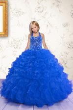 Halter Top Organza Sleeveless Floor Length Girls Pageant Dresses and Beading and Ruffles