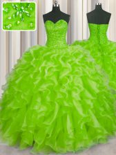 Hot Selling Yellow Green Ball Gowns Organza Sweetheart Sleeveless Beading and Ruffles Floor Length Lace Up 15th Birthday Dress