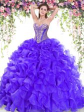 Organza Sweetheart Sleeveless Sweep Train Lace Up Beading and Ruffles Quinceanera Gowns in Purple