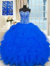 Shining Organza Sleeveless Floor Length Ball Gown Prom Dress and Beading and Ruffles