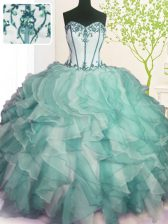 On Sale Green Sweetheart Neckline Beading and Ruffles Quinceanera Gown Sleeveless Lace Up