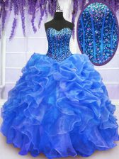 Excellent Blue Quinceanera Gown Military Ball and Sweet 16 and Quinceanera with Beading and Ruffles Sweetheart Sleeveless Lace Up