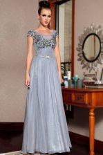Top Selling Scoop Sequins Floor Length Column/Sheath Cap Sleeves Grey Dress for Prom Side Zipper