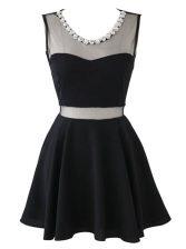 Scoop Sleeveless Chiffon Mini Length Zipper Evening Dress in Black with Beading