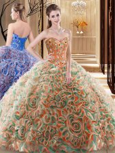 Multi-color Ball Gowns Fabric With Rolling Flowers Sweetheart Sleeveless Embroidery and Ruffles With Train Lace Up Ball Gown Prom Dress Brush Train