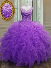 Colorful Purple Zipper Quinceanera Dresses Beading and Ruffles Sleeveless Floor Length