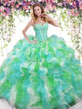 Discount Sweetheart Sleeveless Organza Sweet 16 Dress Beading and Ruffles Lace Up