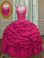 Decent Pick Ups Floor Length Hot Pink 15th Birthday Dress Straps Sleeveless Lace Up