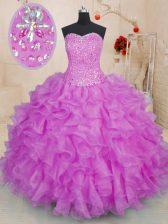 Fuchsia Sweetheart Lace Up Beading and Ruffles Sweet 16 Quinceanera Dress Sleeveless