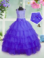 Ruffled Square Sleeveless Zipper Little Girls Pageant Dress Purple Organza