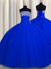 Beautiful Really Puffy Floor Length Royal Blue Ball Gown Prom Dress Strapless Sleeveless Lace Up