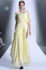 Enchanting Scoop Light Yellow Organza Zipper Dress for Prom Short Sleeves Floor Length Lace and Ruffles