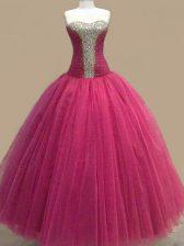 Fashionable Fuchsia Lace Up Sweetheart Beading Prom Party Dress Tulle Sleeveless