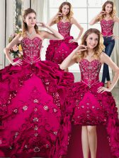 Four Piece Sweetheart Sleeveless Organza and Taffeta Sweet 16 Quinceanera Dress Beading and Embroidery Lace Up