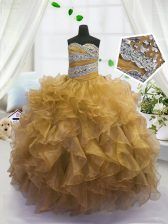 Pretty Gold Lace Up Sweetheart Beading and Ruffles Kids Formal Wear Organza Sleeveless