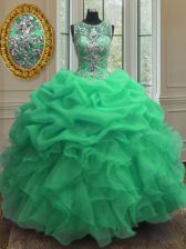 Flare Scoop Sleeveless Quince Ball Gowns Floor Length Beading and Ruffles Green Organza