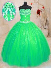 Sleeveless Beading Lace Up 15th Birthday Dress