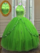 Halter Top Lace Up Beading and Appliques Sweet 16 Quinceanera Dress Sleeveless