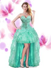 Sleeveless Lace Up High Low Beading and Ruffles Prom Party Dress