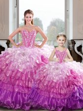 Top Selling Hot Pink Sweetheart Lace Up Beading and Ruffles Sweet 16 Quinceanera Dress Sleeveless