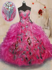Inexpensive Sweetheart Sleeveless Quinceanera Dresses Floor Length Beading and Appliques and Ruffles Hot Pink Organza