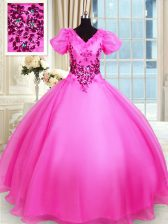 Noble Hot Pink Lace Up Ball Gown Prom Dress Appliques Short Sleeves Floor Length