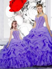 Edgy Straps Lavender Lace Up Quince Ball Gowns Beading and Ruffles and Pick Ups Sleeveless Floor Length