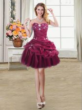 Luxury Pick Ups Mini Length Burgundy Evening Dress Sweetheart Sleeveless Lace Up