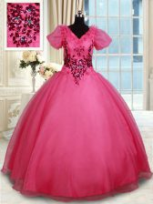 Elegant Floor Length Ball Gowns Short Sleeves Coral Red Vestidos de Quinceanera Lace Up