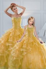 Glorious Sweetheart Sleeveless Organza Sweet 16 Quinceanera Dress Beading and Ruffled Layers Lace Up