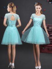 Artistic Scoop Aqua Blue Tulle Lace Up Vestidos de Damas Short Sleeves Mini Length Lace and Appliques and Belt