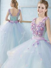 Floor Length Light Blue Quince Ball Gowns V-neck Sleeveless Lace Up