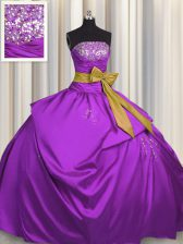 Purple Strapless Lace Up Beading and Bowknot 15 Quinceanera Dress Sleeveless